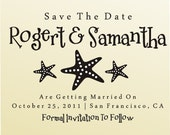 SAVE THE DATE Stamp Self Inking Whimsical Starfish Personalized Wedding Stationery Stamper self ink - Style 6004