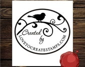 Created by / Handmade by Personalized  web page/ website or  etsy  web address custom rubber stamp - style 1556