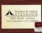 SELF INKING Custom Return Address Rubber Stamp with love birds - STYLE 1263-  Personalized   wedding or christmas gift