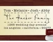 Modern Script Custom  Address Rubber Stamp -  Personalized SELF INKING Wedding Favor Stamper - Style 9018