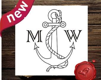 Anchor Monogram Rubber Stamp, Wedding Anchor Initials Monogram Stamp, Wood Handle Nautical Anchor Monogram Initials Stamp (7013)