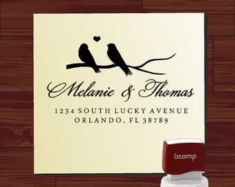 Custom  Personalized   SELF - INKING   address  or save the date rubber stamp with bird on swirl branch cute  wedding  gift - style HS1296B