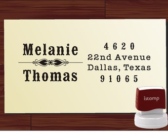 Custom Address Rubber Stamp SELF INKING -- Personalized Gift - Vintage Design - Style 1293