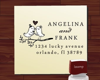 Custom Address Stamp - Return Address Stamp - Love Birds on Swirl Branch Wedding Stamp - Envelope SELF INKING Address Stamp  (HS1295)