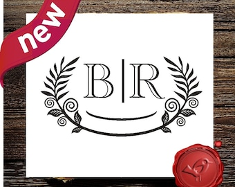 WEDDING MONOGRAM Stamp Custom Monogram Save the Date rubber stamp - Personalized wedding favor stamper - style 7020
