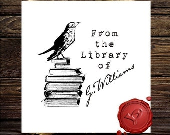 Bird on Books Stamp Ex Libris / From the Library of Custom Rubber Stamp - Personalized Library Stamper - Style 1571
