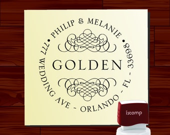 Custom Address Stamp with Calligraphy Ornaments - Round SELF INKING Style 1265 - Personalize Stationery, Letters, Envelopes and Labels