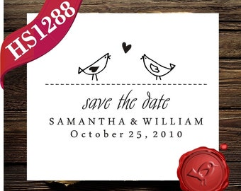 Custom Save the Date address name stamp, Birds in Love Bride & Groom wood handle stamp, Personalized wedding stamp - HS1288