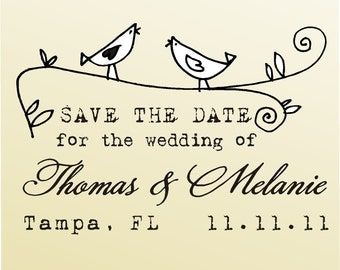 SAVE THE DATE acrylic block mounted  Stamp -style 6010 - custom wedding stationary