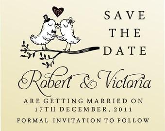 SAVE THE DATE acrylic block mounted stamp -style 6008  - custom wedding stationary