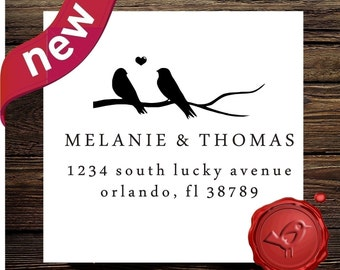 Custom return address stamp - wood handle - save the date  rubber stamp - bird on swirl branch  - style hs1296