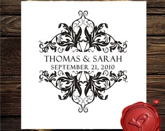 Wine design Custom  Personalized WEDDING  MONOGRAM names  save the date  rubber stamp cute  wedding  gift - HS1280