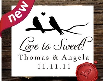 Love is Sweet SAVE THE DATE Stamp Candy Buffet Custom Wedding rubber stamp - wood handle Personalized wedding label -  HS1306B