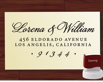 Return Address Rubber Stamp, Calligraphy Address Stamp, SAVE the DATE Wedding Address Stamper Self Inking or Wood Handle Stamp - 1280Q