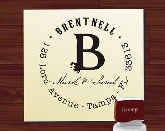 Monogram Address Stamp SELF INKING / Vintage Calligraphy Address / Return Address Rubber Stamp / Name Stamp (HS 1308A) wedding gift