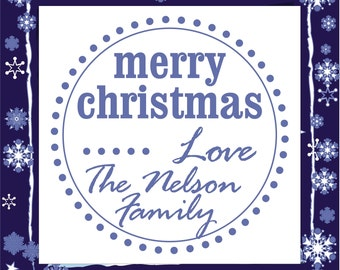 Personalized Polka Dot Merry Christmas holiday Custom Name preinked self inking stamp - style 1268B