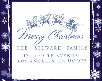 Christmas design  SELF INKING custom Return Address Stamp --- Style HS 1803