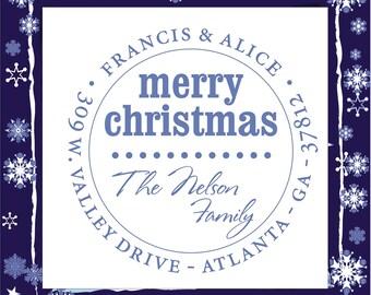 Christmas design  SELF INKING custom Return Address Stamp --- Style HS 1217B