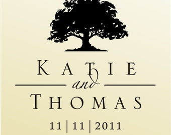 SAVE THE DATE stamp - Oak Tree Wedding Rubber Stamp - clear block name stamp - (6019)