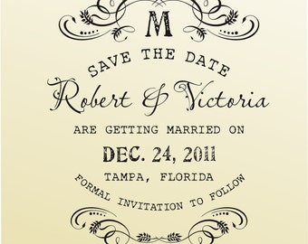 Save the Date Wedding Stamp DIY Do It Yourself Large Clear Stamper Invitation Stationery Custom Rubber Stamp Vintage Retro Typewriter Font