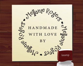 Custom Handmade By Rubber Stamp Self Inking, Personalized Created by Signature Business LOGO Stamp ( 1577 )