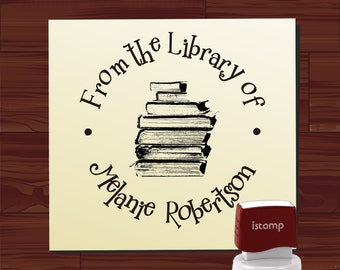 Custom LIBRARY STAMP Self Inking Book Ex Libris Stamp From the Library of Teacher Stamp Personalized Library School Stamp - Style 1578