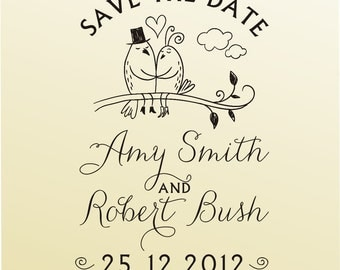 SAVE THE DATE love birds design calligraphy font rubber stamp clear block mounted -style 6030  - custom wedding stationary