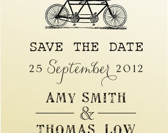 SAVE THE DATE vintage design typewriter font rubber stamp clear block mounted -style 6028 - custom wedding stationary