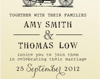 DIY Wedding invitation vintage design typewriter font rubber stamp clear block mounted -style 6028INVITATION  - custom wedding stationary