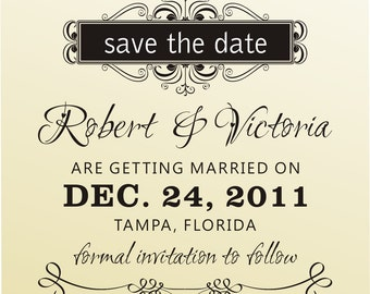 SAVE THE DATE  calligraphy font rubber stamp clear block mounted -style 6034savethedate  - custom wedding stationary