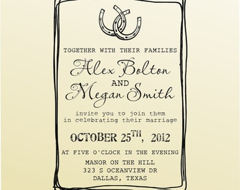 Interlocking Horseshoes Wedding INVITATION stamp, Save the Date rsvp thank you Rubber Stamp, Clear Block Stamper - 6036INVITATION