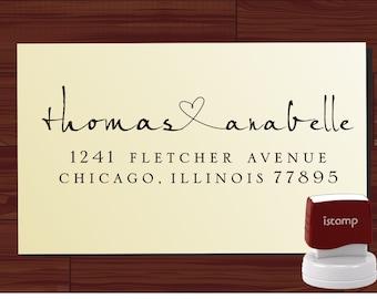 Personalized Name Rubber Stamp Return Address Monogram Stamper Envelope Stamp Long Lasting Modern Font Heart Design Wedding Invitations