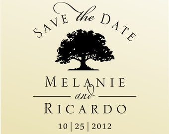 SAVE the DATEoak tree design  modern font rubber stamp clear block mounted -style 6019B  - custom wedding stationary