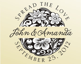 SPREAD the LOVE rubber stamp clear block mounted -style  HS1311 - custom wedding stationary