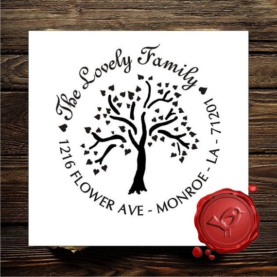 Personalized address custom text art rubber stamp HOSTESS GIFT - TREE OF LOVE - cute Valentines  day gift -1171 style