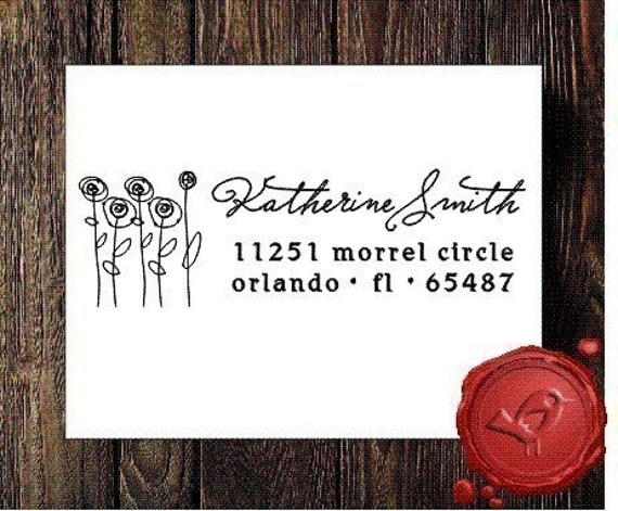NEW DESIGN Personalized address custom text rubber stamp HOSTESS GIFT wit flowers calligraphy style 9017