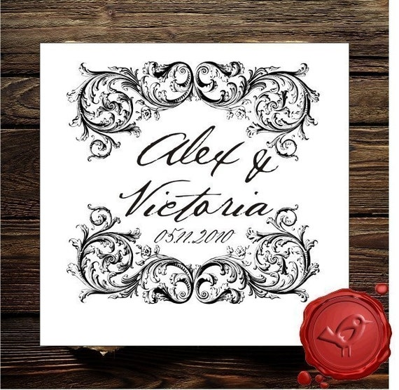 Vintage design save the date custom rubber stamp wedding for Wedding dress rubber stamp