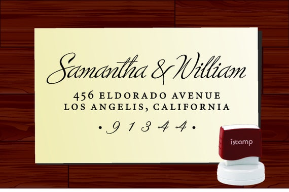 Custom Calligraphy Address Rubber Stamp SELF INKING ---- Personalized Wedding, Housewarming, or Holiday Gift  - Style 1280D