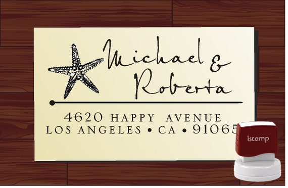 Custom Address Rubber Stamp SELF INKING --- Personalized Starfish Wedding, Housewarming, or Christmas Gift - Style 1279