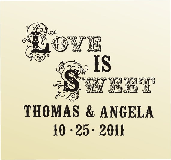 Custom rubber stamp - Wedding stamp - SAVE THE DATE Love is Sweet -  Candy Buffet favor bags  - Style 6009- custom wedding stationary