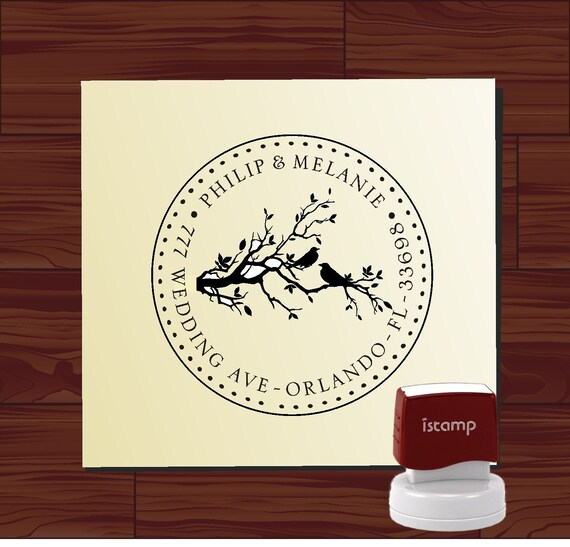 Love Birds on Swirl Branch Custom Rubber Stamp - Personalized SELF INKING Wedding Save the Date Address Stamper - Style 1240C