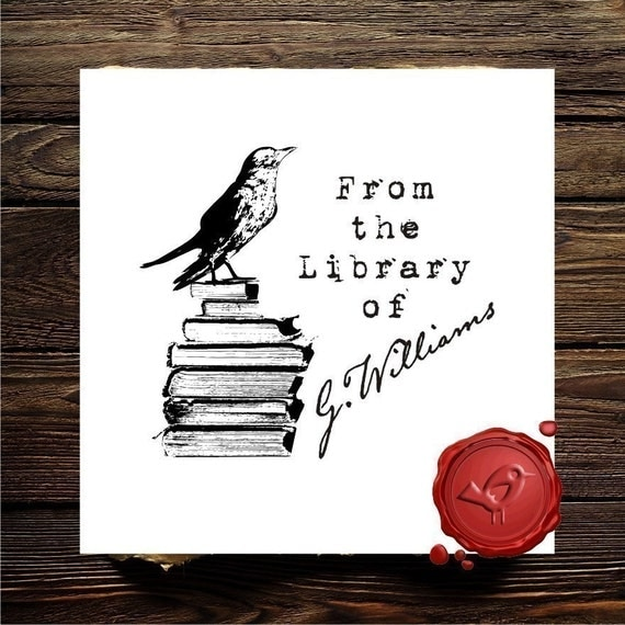 Bird on Books Ex Libris / From the Library of Custom Rubber Stamp - Personalized Library Stamper - Style 1571