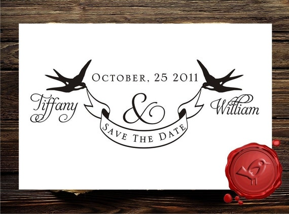 Ribbon Banner Custom rubber stamp SAVE the DATE  2 swallows personalized stamp - wedding  gift - HS1287