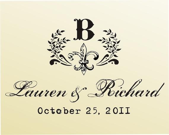 Custom rubber stamp SAVE THE DATE Fleur de Lis vintage monogram typewriter font -style 6014 - custom wedding stationary