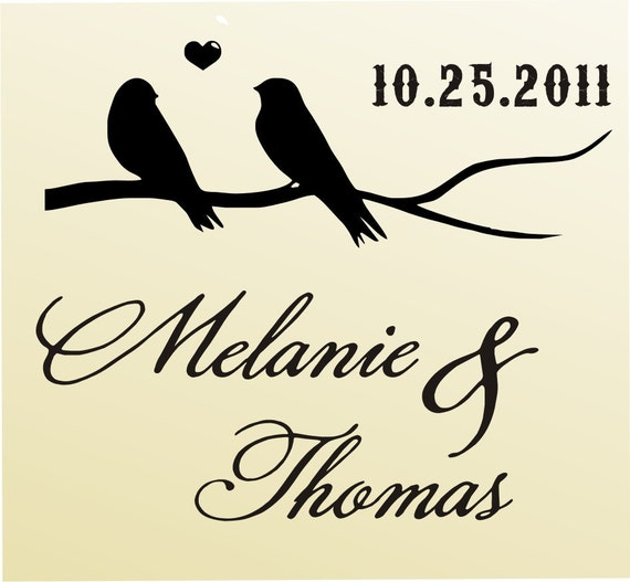 Birds on Branch SAVE THE DATE Stamp Custom Wedding Stationary Favor Rubber Stamp Candy Buffet Bags Label 6016