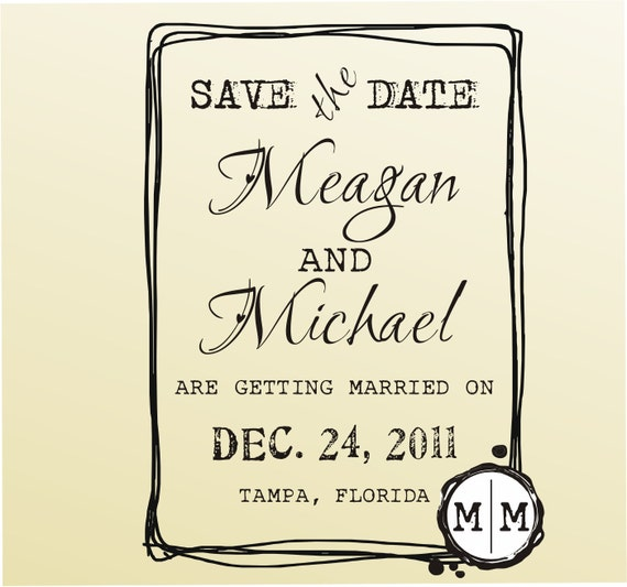 SAVE THE DATE rustic frame design rubber stamp in typewriter font on clear block -style 6021