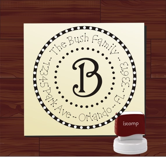 Custom Personalized ROUND SELF INKING Return Address Rubber Stamp - style 1140 - cute wedding or christmas gift
