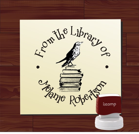 Bird on Book Stamp EX LIBRIS Custom Self inking From the LIBRARY of Rubber Book Stamp - Personalized Library Stamper - Style 1578B