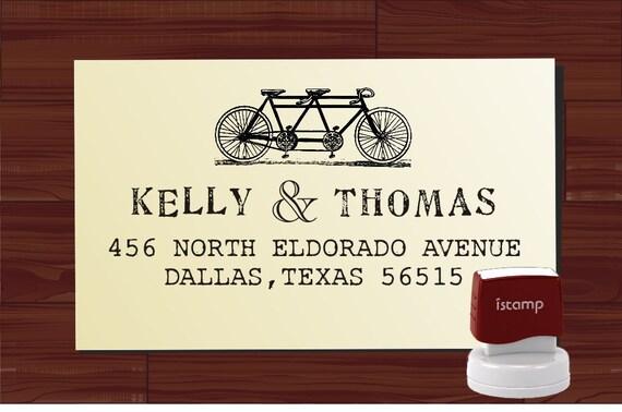 Bike  Vintage design typewriter font  Return Address Stamp - Personalized SELF INKING Wedding Stationery Stamper - Style 6028ADDRESS