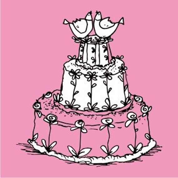 Wedding cake rubber stamp for your wedding invitations and cards ctaft projects- style 10013
